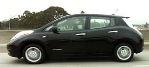 A California proposal to strive for a fifty percent cut in petroleum-based fuel use by 2030 died this week. Image of Nissan Leaf electric vehicle courtesy Wikimedia.