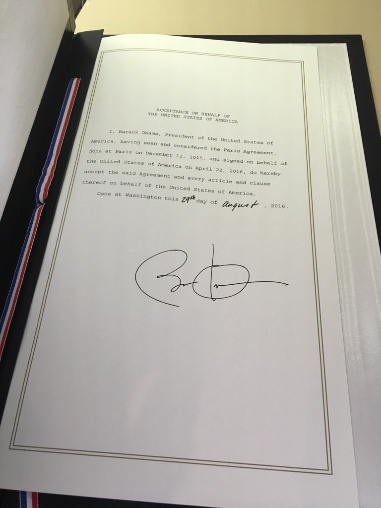 Obama signature on Paris Agreement document, Sept. 3, 2016