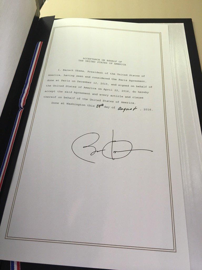 Obama signature on Paris Agreement document, Sept. 3, 2016